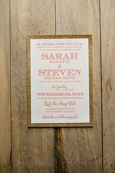 Coral and gold wedding invitation - so pretty #wedding #weddinginvite #gold #goldwedding #coral
