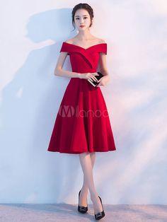 f8291ad484b6 Modisches Abendkleid für Homecoming mit Carmenausschnitt Elastische  Kunstseide A-Linie- in Burgunderrot