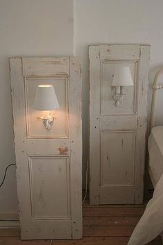 Sconses added to old door or shutters for nightstands. Dishfunctional Designs: New Takes On Old Doors: Salvaged Doors Repurposed Repurposed Furniture, Diy Furniture, Furniture Plans, System Furniture, Furniture Chairs, Garden Furniture, Gray Wash Furniture, Painted Bedroom Furniture, Furniture Dolly