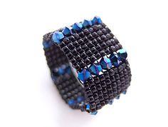 Blue Crystal Ring Black Beaded Ring Swarovski by JeannieRichard, $40.00