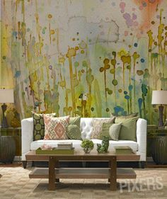 watercolor mural wallpaper statement accent wall --- modern boho bohemian eclectic interior design home decor --- from EstiloyDeco by Fotomurales de PIXERS.