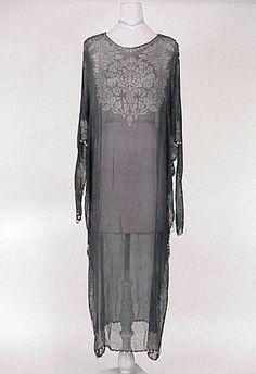 Fortuny Sheer Black Silk Caftan  1920s