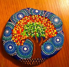 Painted Beach Stone Tree of Life by Miranda by P4MirandaPitrone