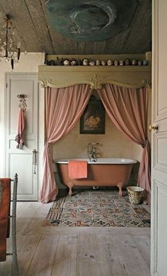 Vintage Bath - I LOVE this. Someday, when I win the lottery. The bathroom should also have a vanity converted from a buffet or old dressing table.
