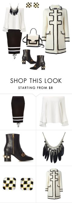 """# fall in black and white"" by andrea-jones-4 ❤ liked on Polyvore featuring Puma, Gucci, Angela Cummings, Boutique Moschino and Kate Spade"