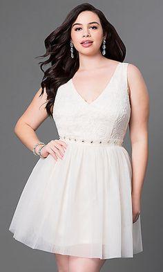 0909898b4a V-Neck Short Lace Bodice Plus Dress. Plus Size Cocktail ...