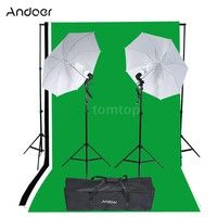 Wish | Andoer Photography Studio Portrait Product Light Lighting Tent Kit Photo Video Equipment (2 * 135W Bulb+2 * Bulb Holder+2 * Reflective Shooting-through Umbrella+3 * Backdrops+1* Backdrop Stand+2 * Tripod Stands+1* Carrying Bag)