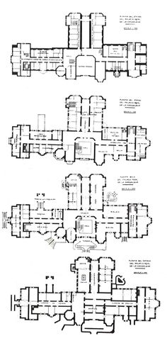 Floor plans of Palacio de la Magdalena, Santander, Spain. From 1912 until 1930 it was the summer residence of king Alfonso XIII and his family.