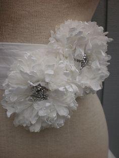 Bridal Sash belt  With Two Unique Design Flowers white by deniz03, $65.00
