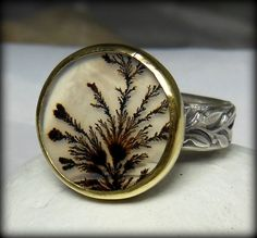 Dendritic Agate Cocktail ring , Gemstone ring, Silver, yellow gold