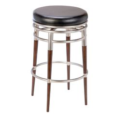 The Salem Stool may be simple in design, but the intricate details give it exquisite style. The warm dark maple legs are contrasted by the sleek polished chrome finish and black vinyl seat to create a handsome combination