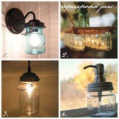 mason jar crafts...love the light