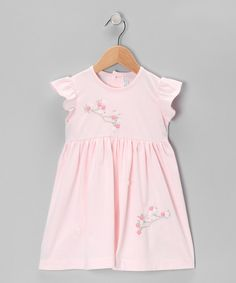 Look what I found on #zulily! Pink Bird & Flowers Angel-Sleeve Dress - Infant & Toddler by Fantaisie Kids #zulilyfinds
