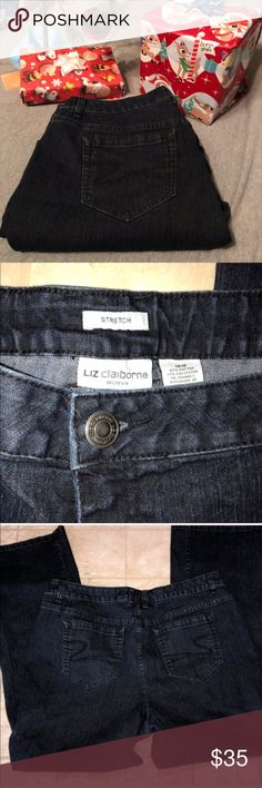 Liz Claiborne Dark Wash Jeans Like new 18W Liz Claiborne Straight Leg Stretch Jeans. Inseam is 30 inches and the rise is 11 inches  💜All sales are going towards college tuition for the spring semester! I am majoring in Elementary Education and I love it! Thanks so much for helping me reach my goal of becoming a Kindergarten teacher!💙 Liz Claiborne Jeans Straight Leg