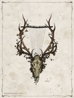 I chose this artwork because it ties in the theme of Orpheus charming the animals with a lyre made from the skull of a deer. Apollo Tattoo, France Tattoo, Witch Drawing, Gothic, France Art, Art For Art Sake, Dragon, Digital Illustration, Fantasy Illustration