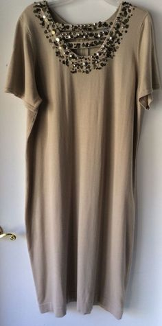 Linea Louis Dell Olio New Beige Knit Dress Gold Beaded Neck Short Sleeves Sz XL #LouisDellOlio #KnitDress