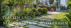 Gartenplanung - Gardendesign  Renate Waas  Landschaftsarchitektin - landscape architect Gartenplanung Schotterrasen und Granitplatten als Garagenzufahrt