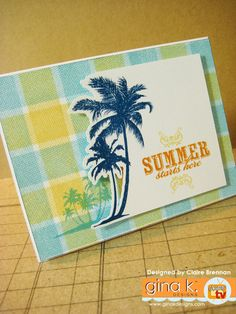 Waltzingmouse Makes.: How to stamp plaids Palm Tree Images, Vacation Images, Best Vacations, Clear Stamps, Scrapbook Pages, Scrapbooking, Summer Fun, Your Cards, Card Making