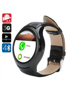 At a Glance. Android Smart Watch, brings the power of a phone to your wrist Beautifully crafted with classic circular frame and leather strap Sync Android Wear, Android Watch, Android 4, Smartwatch, Bluetooth, Best Smart Watches, Leather Wristbands, Wearable Device, Fitness Watch