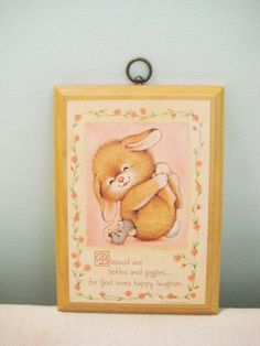 Vintage Hallmark Plaque Rabbit and Mouse by SBVintageAndDesign
