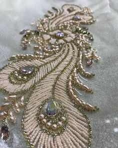 This is what they call fine craftsmanship. on sewing pattern Zardozi Embroidery, Hand Embroidery Dress, Bead Embroidery Patterns, Tambour Embroidery, Couture Embroidery, Bead Embroidery Jewelry, Embroidery Fashion, Hand Embroidery Designs, Ribbon Embroidery