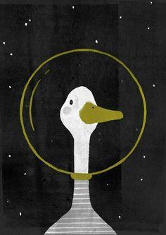 Space Goose Mini Art Print by juliaback Art And Illustration, Vogel Illustration, Duck Drawing, Goose Drawing, Arte Inspo, Desenho Pop Art, Cute Art, Art Projects, Art Drawings
