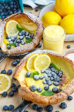 Dutch Babies with Lemon Curd and Blueberries - a fluffy, savoury treat!
