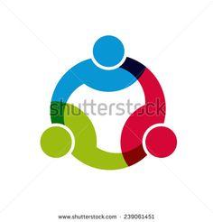 Social Network logo, Group of 3 people business men. Vector design