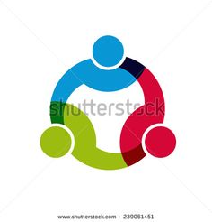 Social Network logo, Group of 3 people business men. Vector design