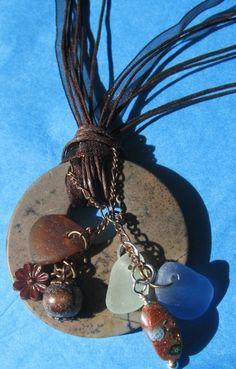 bohemian beach glass necklace