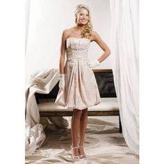 Amazing Strapless Knee Length Attached Brocade Wedding Dress