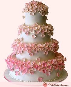 Pink Hydrangea Blossoms Wedding Cake by Pink Cake Box in Denville, NJ.  More photos at http://blog.pinkcakebox.com/pink-hydrangea-blossoms-wedding-cake-2011-05-30.htm  #cakes