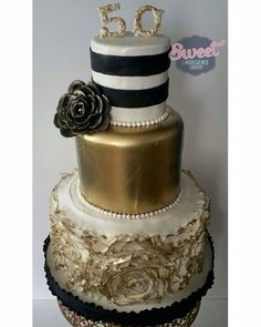 Gold Black And Silver Cake 50th Birthday Cake