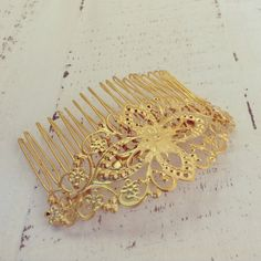24K GoldPlated Filigree Hair Comb Floral Hair by LuluMayJewelry, $38.00