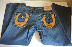 TRUE RELIGION Painted Paint Horseshoe Men's Denim Blue Jeans Size 36 x 31 #TrueReligion #BootCut