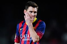 Lionel Messi of FC Barcelona reacts during the La Liga match between FC Barcelona and Athletic Club at Camp Nou on April 20, 2014 in Barcelona, Catalonia.