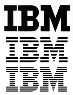 Paul Rand's IBM trademark. The original design is shown with outline versions and the 8 and 13-stripe versions currently used.