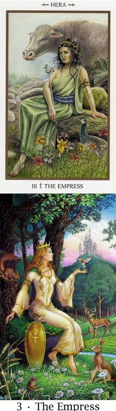 THE EMPRESS: earth/nature and needing to let go (reverse). Animals Divine Tarot deck and Sacredisle Tarot deck: tarot egipcio, onlinetarot and what are tarot cards. Best 2018 paganism men and wicca. #tarotcards #tarotchart #altar #pods #halloweenmakeup #iosapplication
