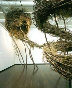 Sculptural installation, Shelterbelt, by Patrick Dougherty, 1990