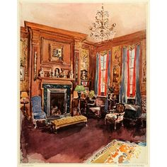 1924 Print Elsie De Wolfe American Interior Decorator Drawing Room Vernon Howe Bailey