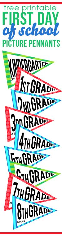 Use these free printable pennants on the first day of school! Have your kiddo hold up their grade level pennant and snap a few pictures. A perfect way to always remember what grade they are going into for the upcoming school year. Now available: grade! Back To School Party, Back 2 School, 1st Day Of School, Beginning Of School, School Teacher, School Fun, School Days, School Stuff, First Day Of School Pictures
