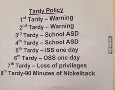 My teacher has a strict policy