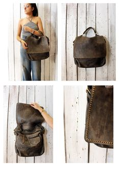 "Handmade Italian Vintage gray Leather Bag ""TOBACCO BAG 8"" di LaSellerieLimited su Etsy"