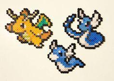 Dratini | Dragonair | Dragonite | Pokemon | Perler Bead | 8bit | Nintendo | Sprite |