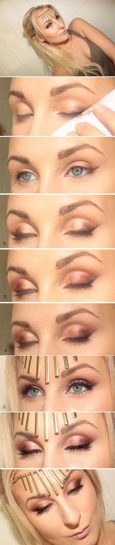 stunning eye makeup - burgundy & warm brown against blue eyes