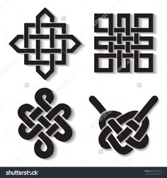 Endless Auspicious Knot Set.China Ornament,Symbol,Tibet, Eternal ...