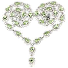 Sterling Silver Green Tsavorite Garnet Gemstone & AAA White CZ