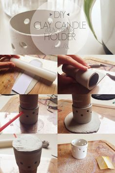 10 step DIY for a cute air-dry clay candle holder. Diy Clay, Clay Crafts, Clay Candle Holders, Pot A Crayon, Clay Mugs, Diy Candles, Candle Centerpieces, Air Dry Clay, Clay Projects