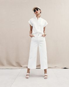 JUN '15 Style Guide: J.Crew women's short-sleeve popover shirt, Rayner wide-leg jean in white, Ray-Ban® sunglasses and Lena slide heels.