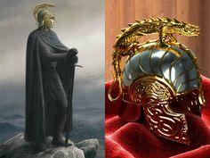 Left: Túrin Turambar wearing the helm of Hador by Alan Lee; Right: CG helm of Hador
